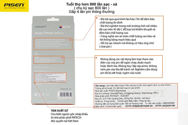 Nhận diện Pin Pisen dung lượng cao iPhone