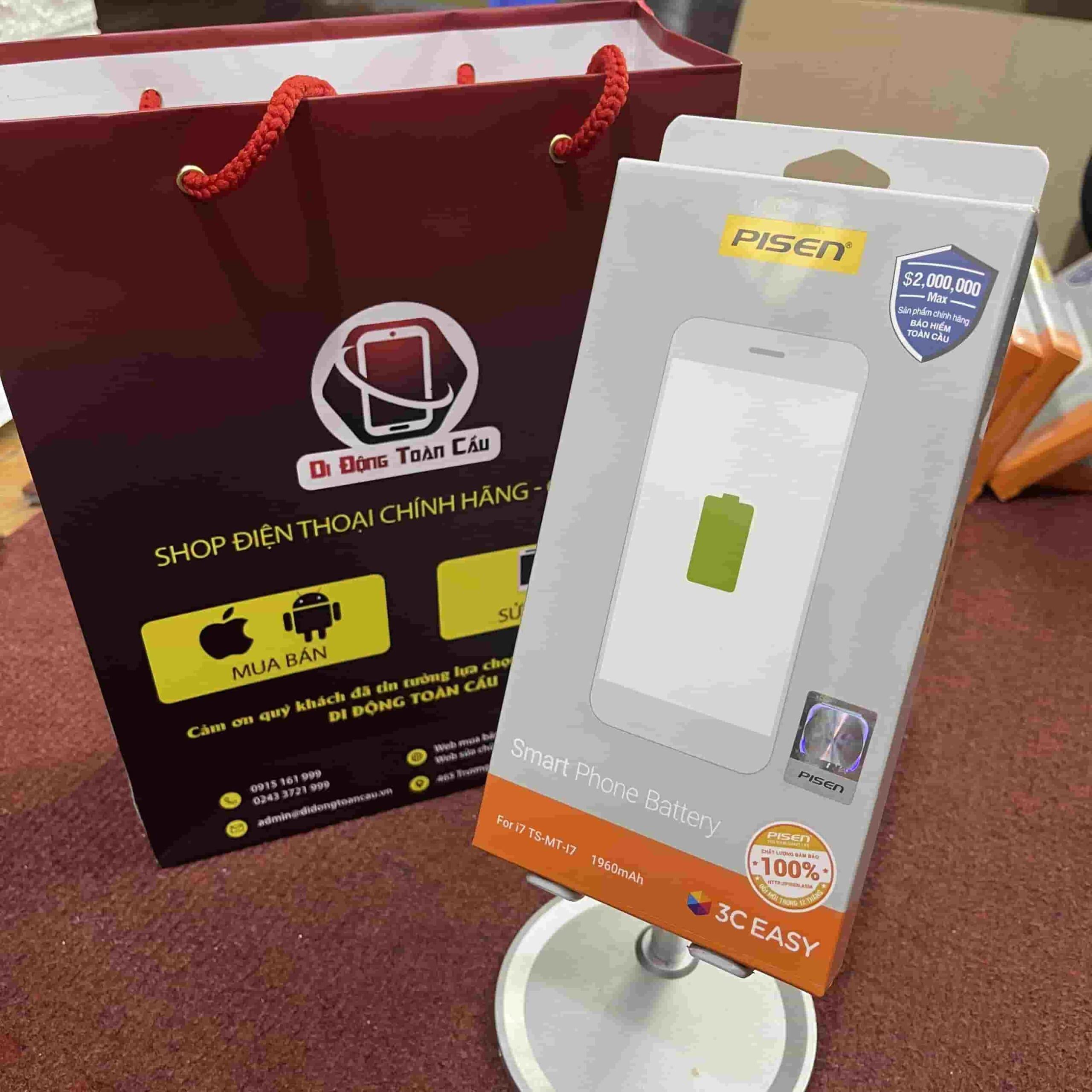 Thay pin Pisen iPhone 7 dung lượng chuẩn