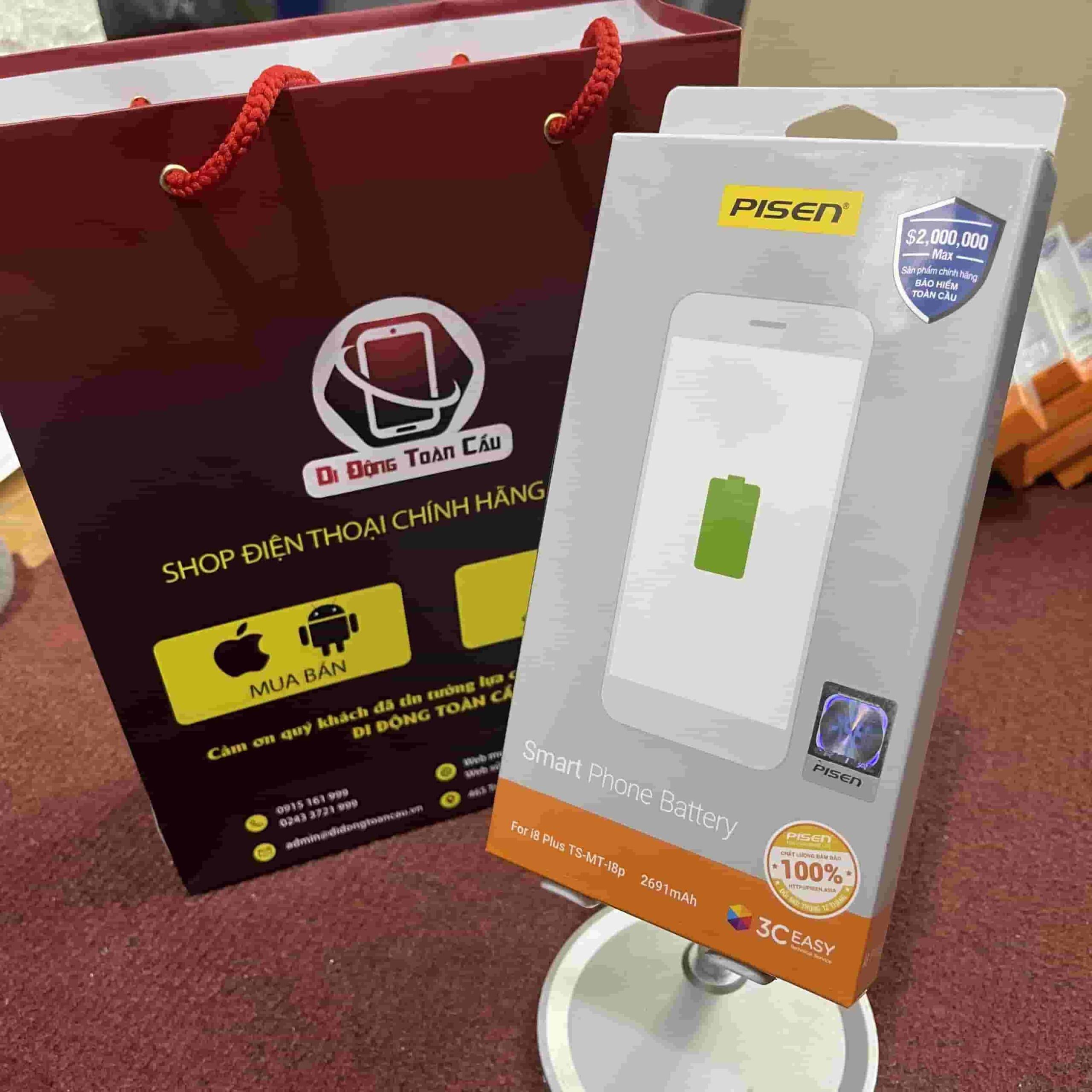 Thay pin Pisen iPhone 8 Plus dung lượng chuẩn