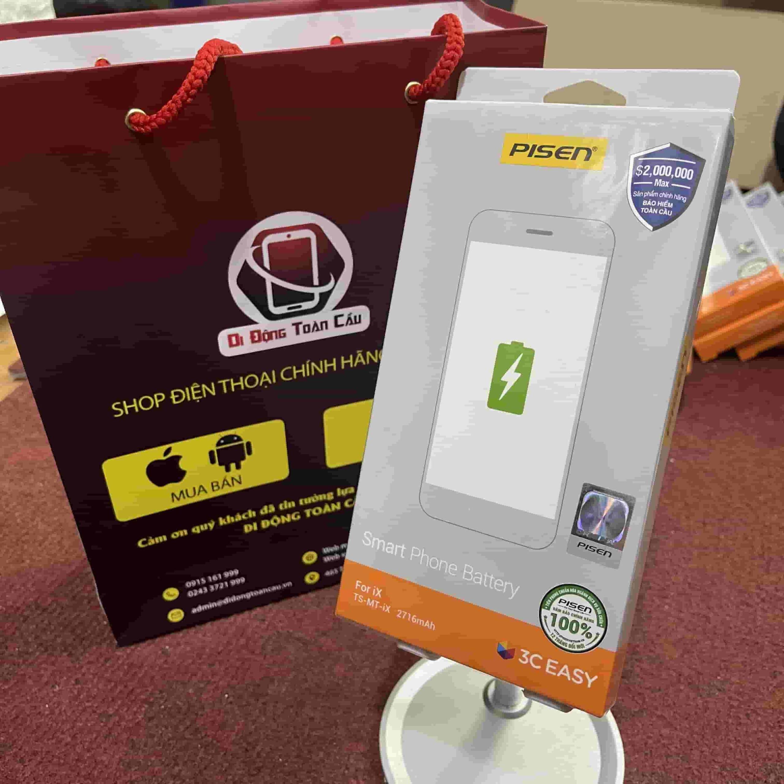 Thay pin Pisen iPhone X dung lượng chuẩn